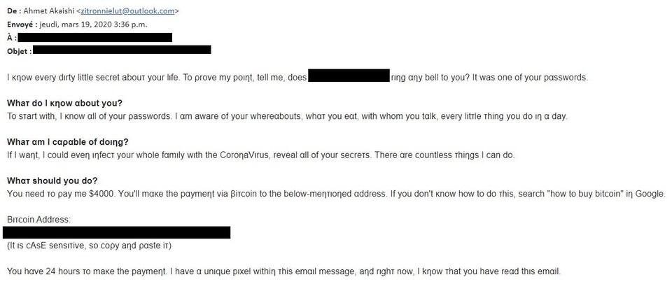 Capture d'écran du courriel frauduleux menaçant d'infecter les gens au coronavirus s'ils ne versent pas une somme d'argent.