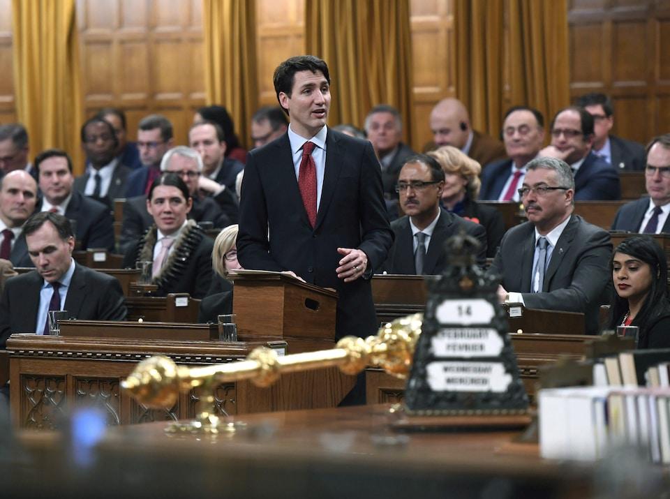 Le premier ministre Justin Trudeau lors de son discours, le 14 février 2018, proposant une nouvelle approche pour garantir le respect des droits des Autochtones inscrits dans la Constitution.