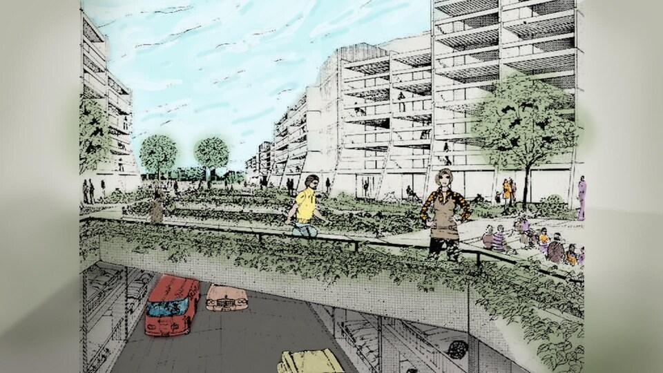 Un croquis d'un plan du futur quartier Lebourgneuf dans les années 1970