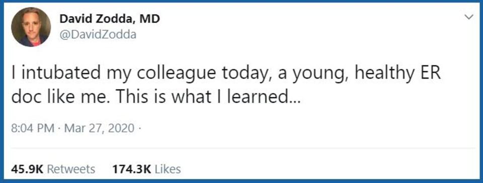 Il est écrit : j'ai intubé mon premier collègue aujourd'hui, un jeune urgentologue comme moi, voici ce que j'ai appris.