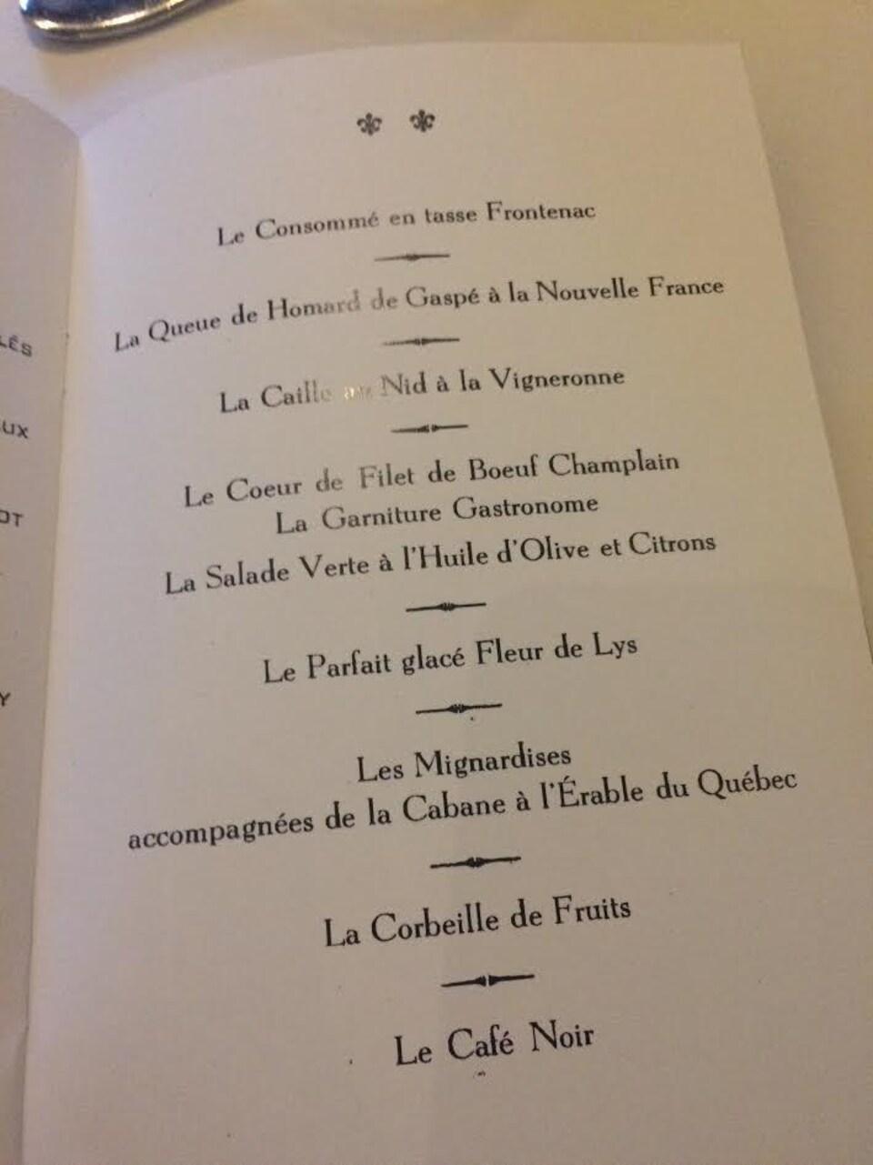 Le menu en 1967