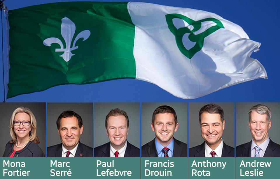 Photos des députés fédéraux franco-ontariens et le drapeau vert et blanc.