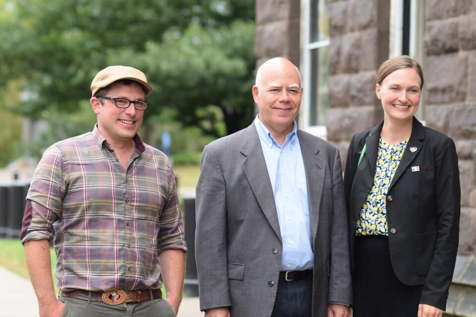 Les trois députés du Parti vert : Kevin Arseneau, David Coon et Megan Mitten