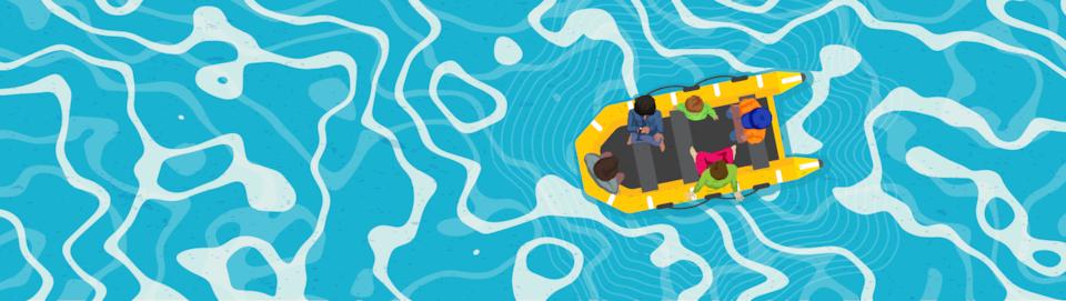 Un dessin montrant une embarcation pneumatique vue de haut avec 5 occupants.