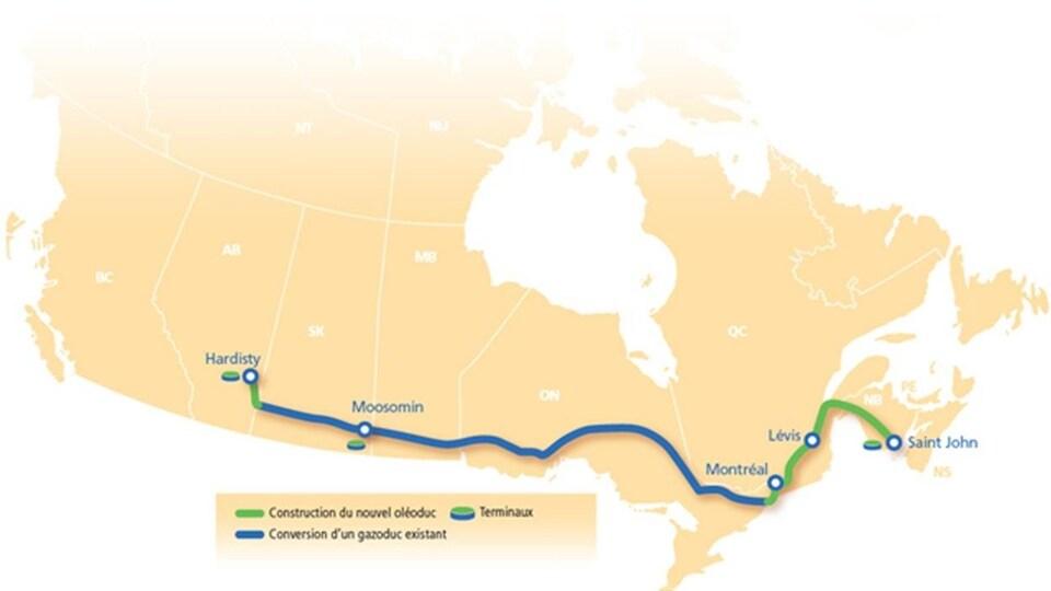Carte du tracé projeté de l'oléoduc Énergie Est de TransCanada.
