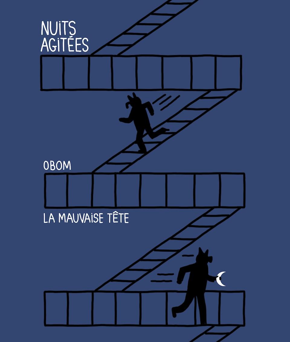 La bande dessinée Nuits agitées de Diane Obomsawin, alias Obom.