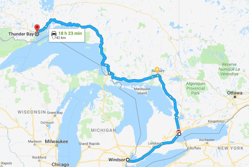 Carte montrant la distance entre Thunder Bay et Windsor.