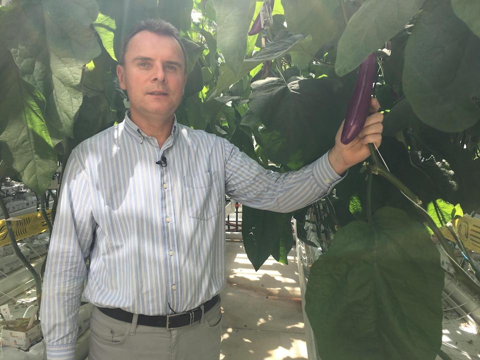Photo du docteur avec une aubergine dans la main