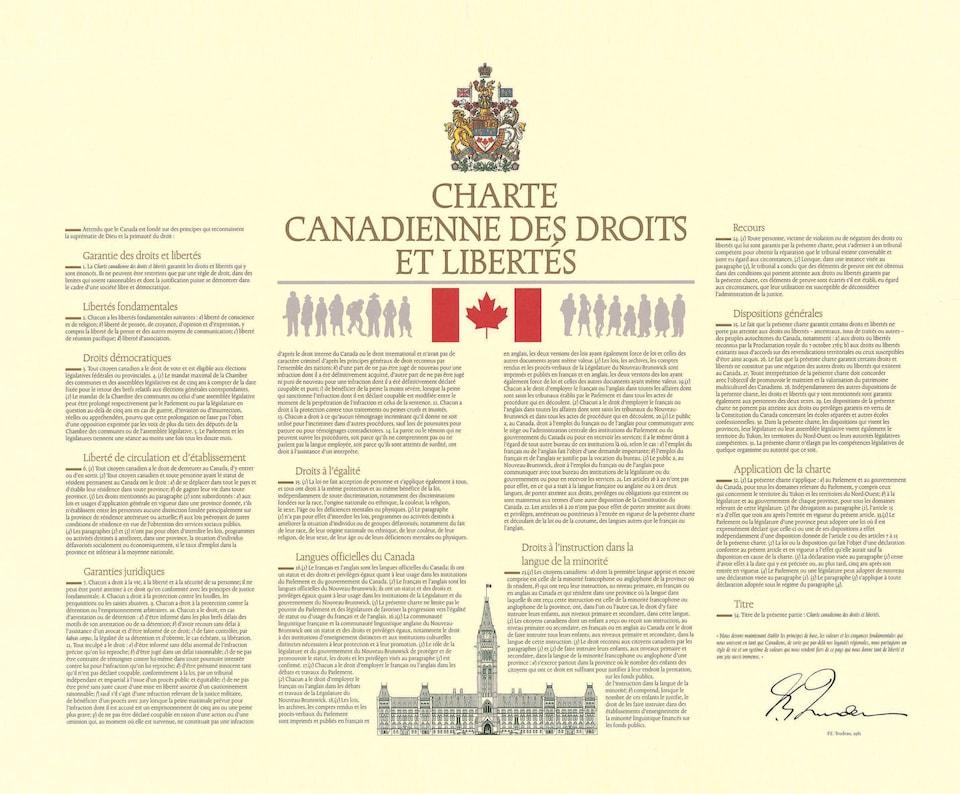 Le document officiel de la Charte canadienne des droits et libertés sur un papier de couleur jaune, avec un drapeau du Canada en tête