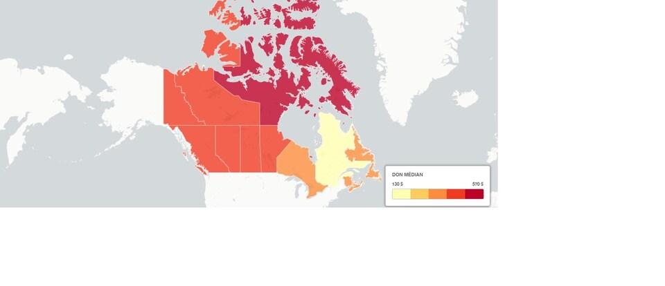 Carte des provinces colorées selon le don médian.