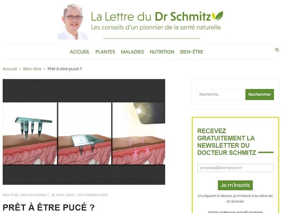 Capture d'écran d'un billet de blogue intitulé «Prêt à être pucé?».