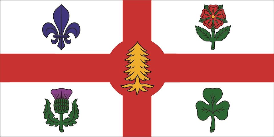 Le nouveau drapeau de la Ville de Montréal arborant le pin blanc en son centre.