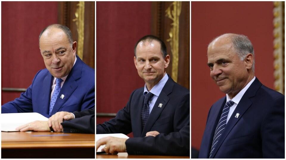 Montage de Christian Dubé, Éric Girard et Pierre Fitzgibbon au Salon rouge de l'Assemblée nationale.