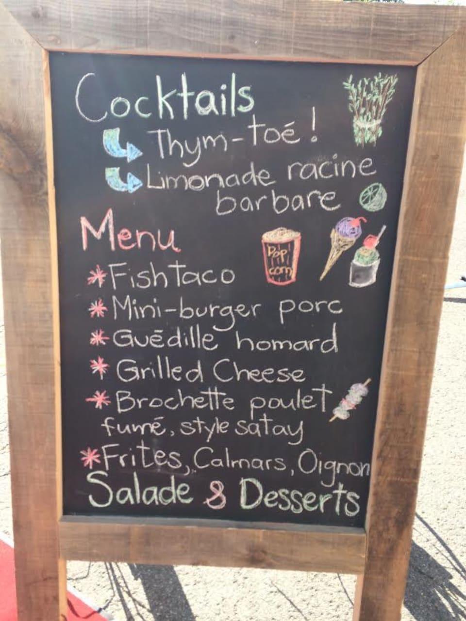 Le menu affiché pour ce soir.