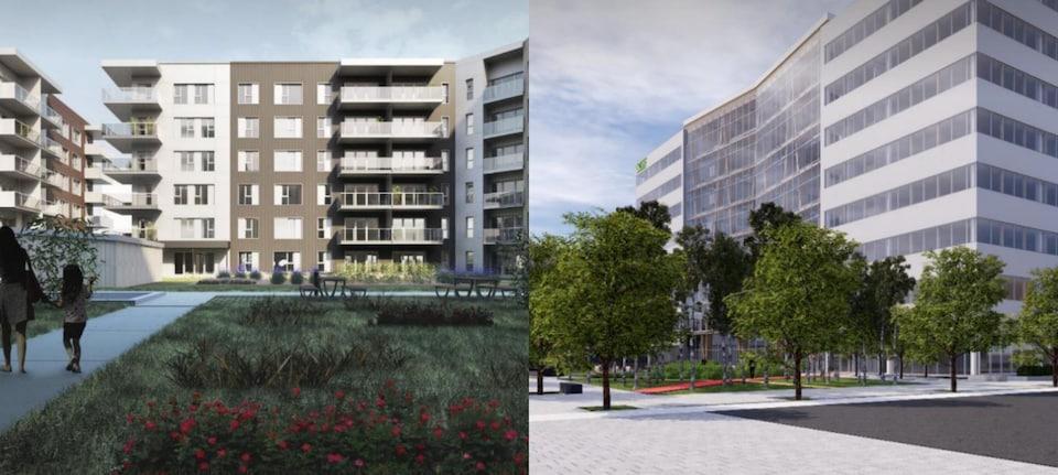 Deux esquisses de projets en cours. À droite, un immeuble de bureaux avec des arbres à l'avant et, à gauche, des logements avec un grand espace vert.