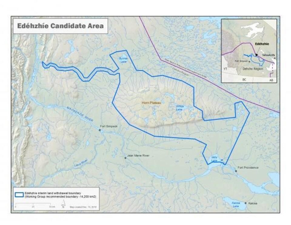 Edéhzhíe, également appelé le plateau de Horn, est situé dans la région du Dehcho, à l'ouest de Yellowknife.