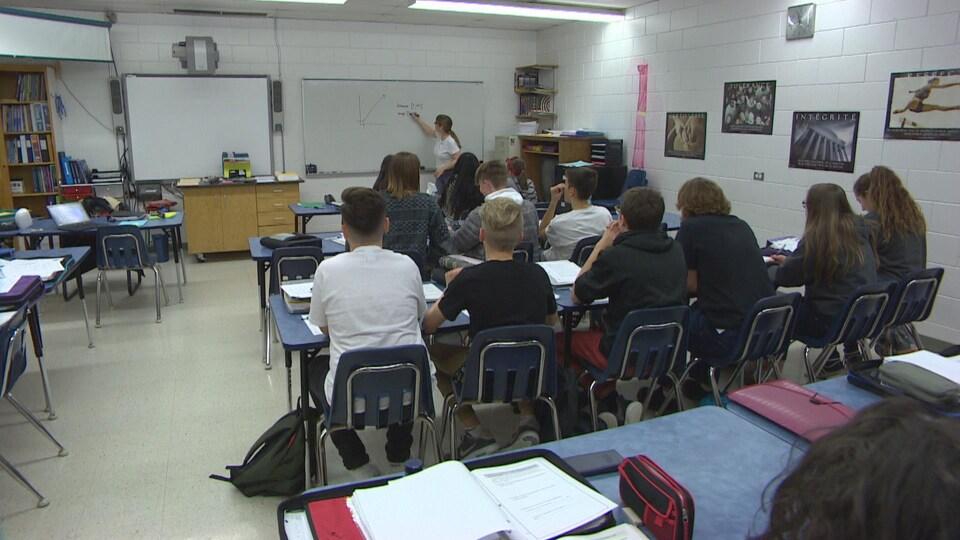 Des élèves assis à leurs bureaux écoutent leur enseignante, qui trace un graphique mathématique au tableau