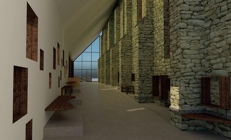 À l'extérieur des murs de l'église, un portrait robot montre un couloir avec des photos historiques dans les murs.
