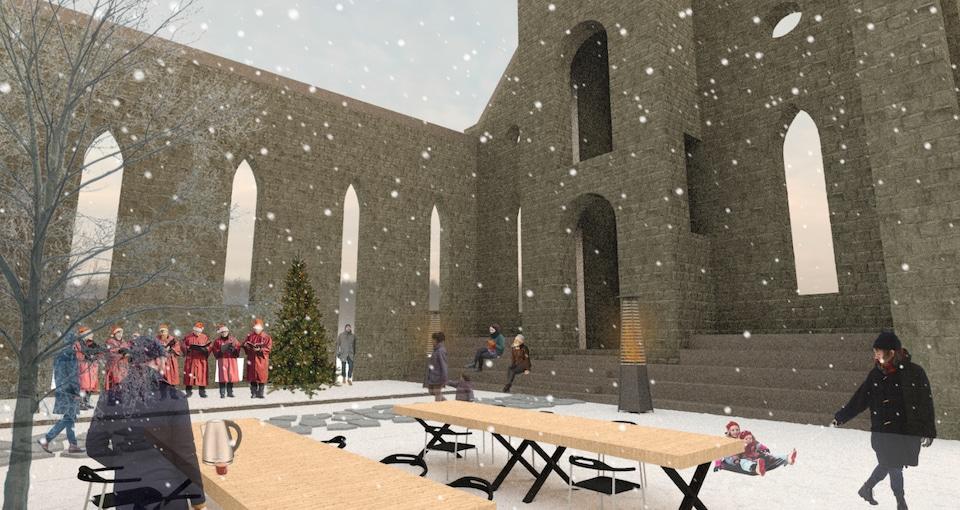 Un portrait robot de l'intérieur des murs en hiver.