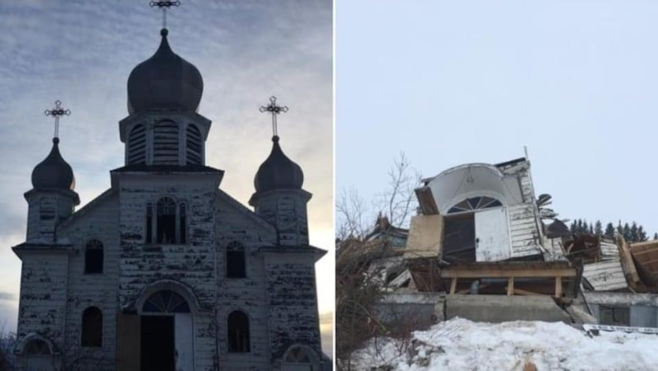 à gauche de la photo, l'église en bois de Meath Park encore debout. à droite de la photo, le tas de gravats qui reste de l'église démolie.