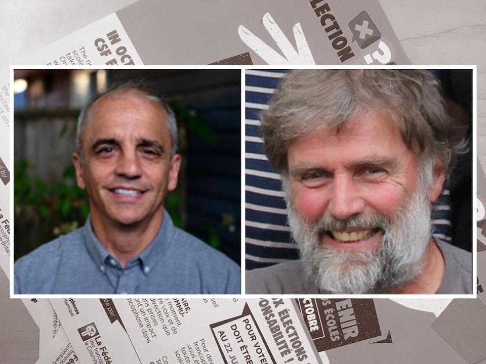 Deux portraits (visages) d'homme sur fond d'affiche de vote.