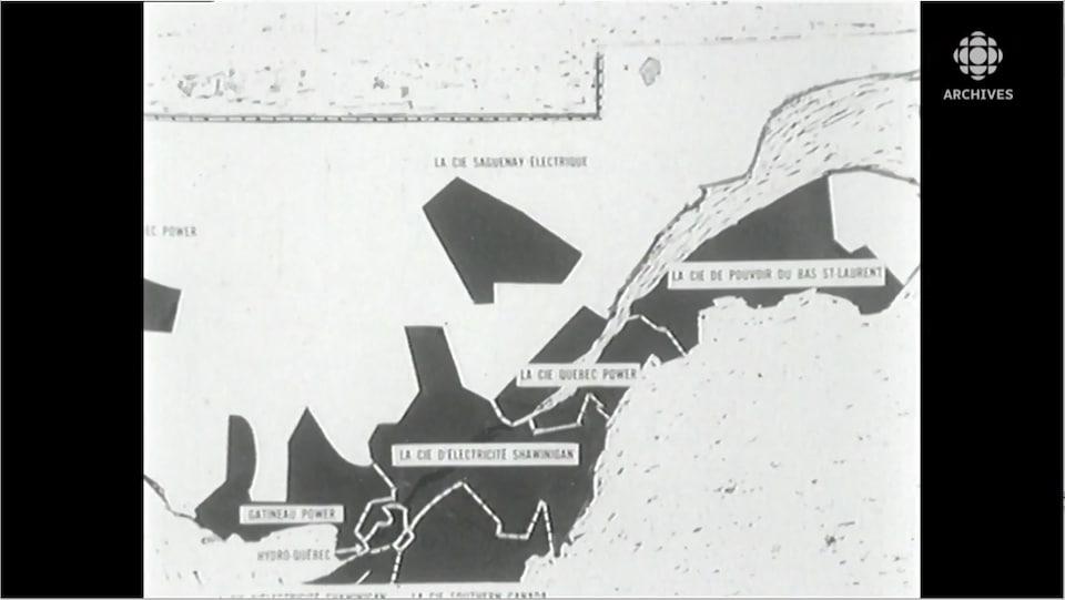 Carte identifiant les compagnies qui desservent en électricité les différentes régions du Québec.