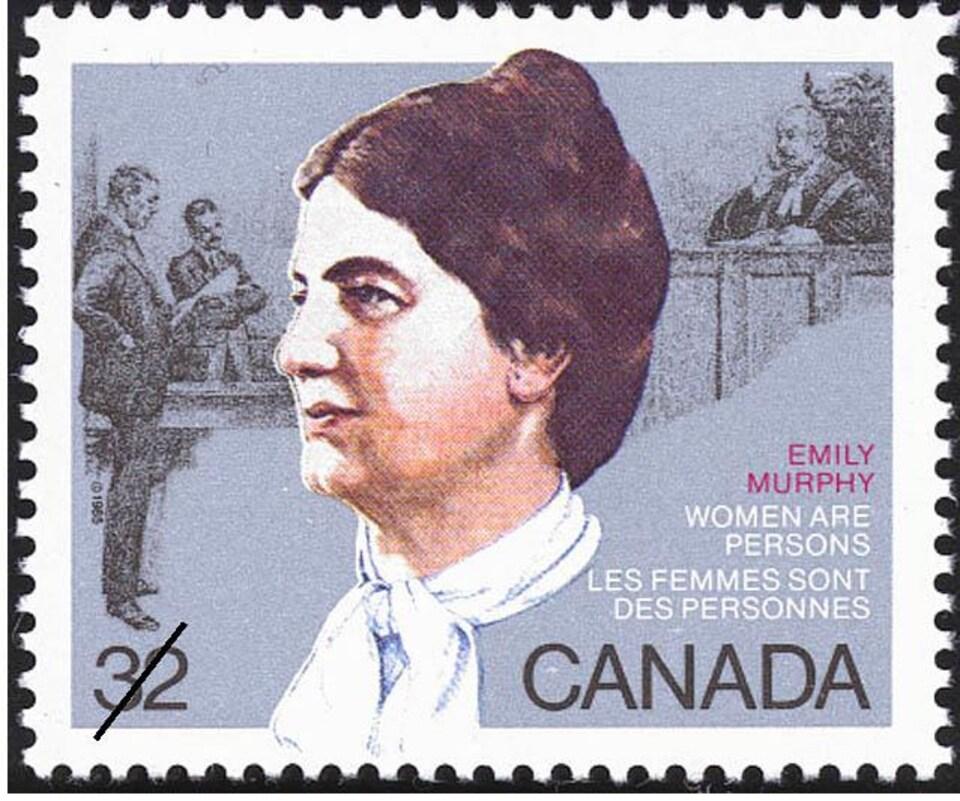 Un timbre à l'effigie d'Emily Murphy, une des cinq femmes à l'origine de l'affaire «personne»