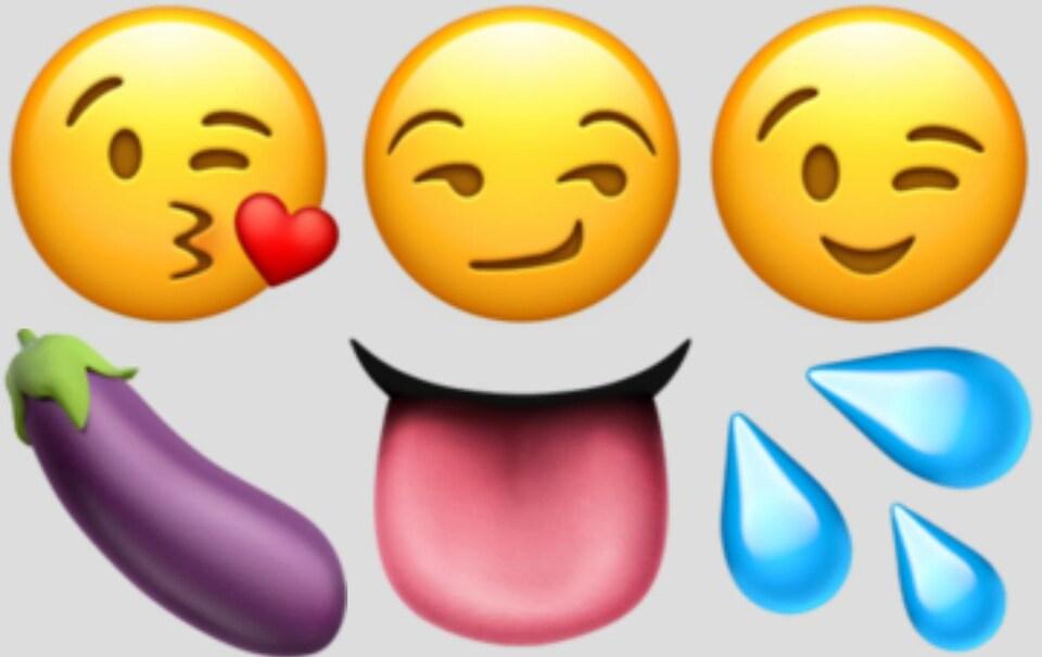 Émoticônes de bisou, sourire en coin, clin d'oeil, aubergine, langue et gouttes d'eau.