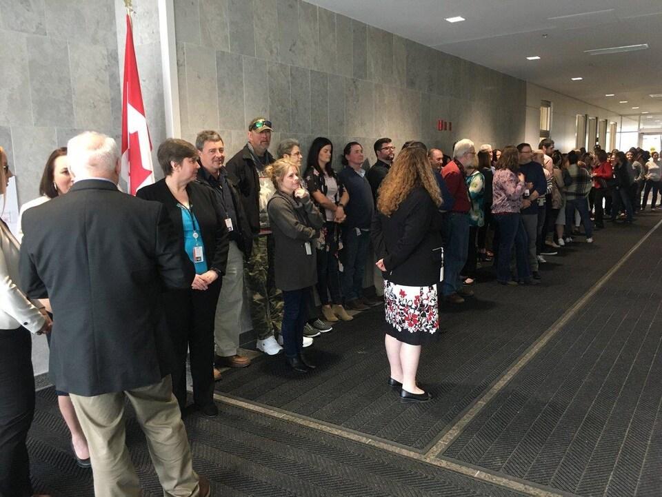 Les employés s'étaient déplacés en masse pour écouter la ministre.