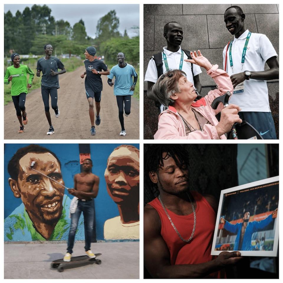 Montage de quatre photos sur lesquelles des athlètes courent en souriant et parlent avec une touriste. Également, un athlète montre une photographie de lui-même lors d'une compétition et un homme fait de la planche à roulettes en filmant une murale honorant la première équipe de réfugiés olympiques pendant les Jeux de Rio en 2016.
