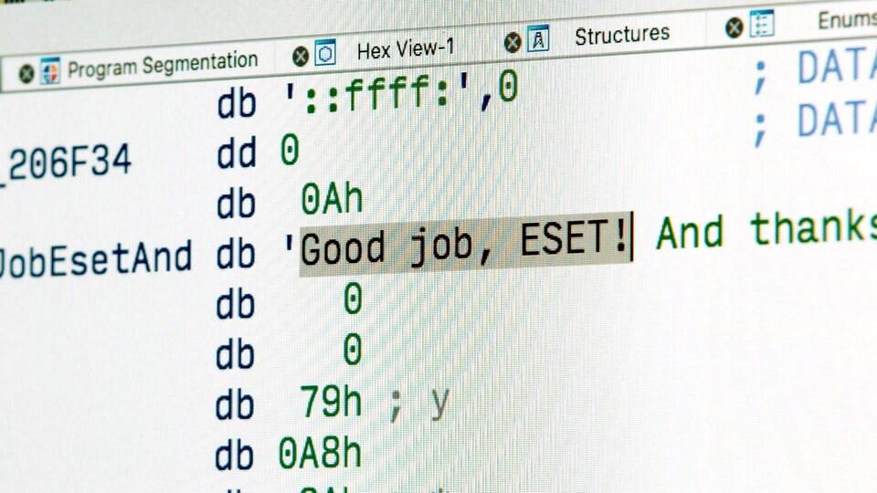 Sur l'écran, on peut lire : «Good job, ESET!»