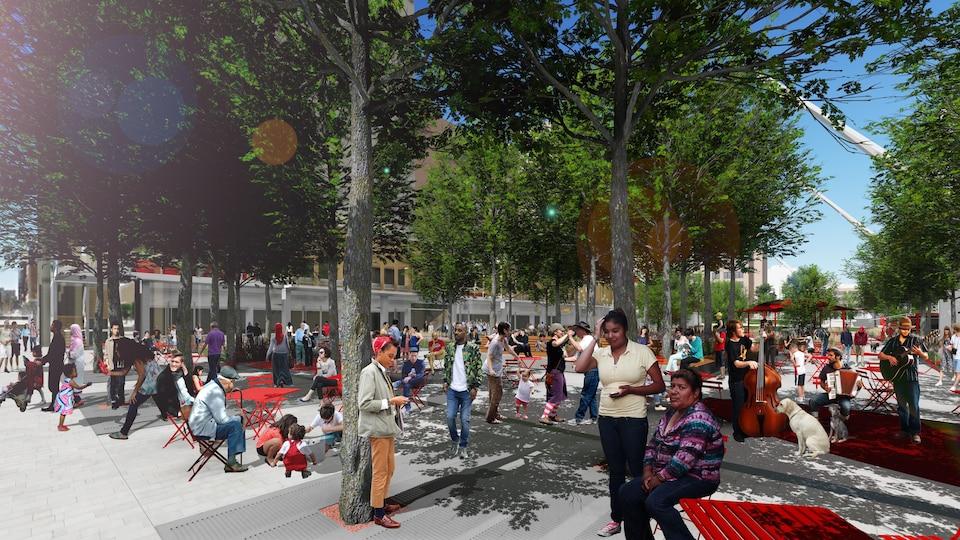Le projet de réaménagement de l'esplanade Clark dans le Quartier des spectacles sera terminé en 2019 au coût de 67,1 millions de dollars.