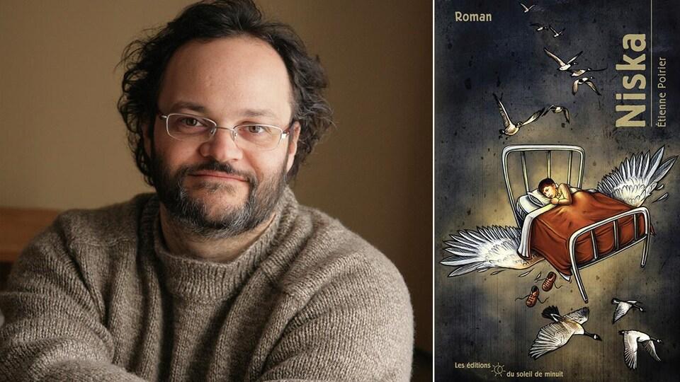 L'auteur Étienne Poirier et la couverture de son roman jeunesse «Niska»