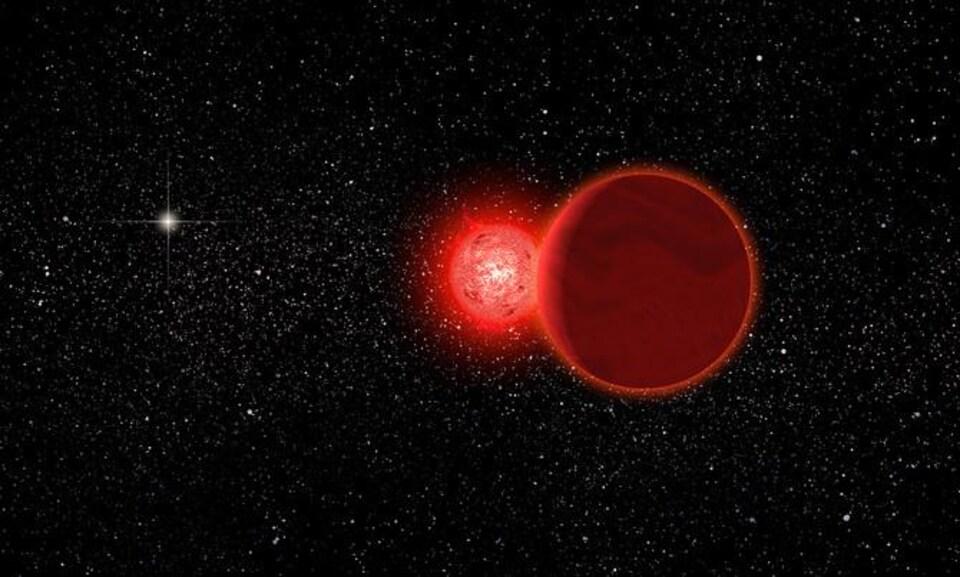 L'étoile de Scholz est un système stellaire binaire formé par une petite naine rouge autour de laquelle gravite une naine brune beaucoup moins brillante et encore plus petite.