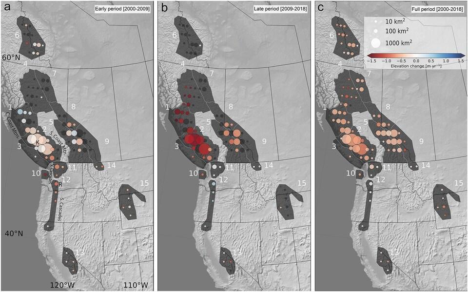 Trois cartes de l'ouest de l'Amérique du Nord. La première montre la fonte des glaces pour la période de 2000 à 2009, la deuxième pour 2009 à 2018 et la troisième pour 2000 à 2018.