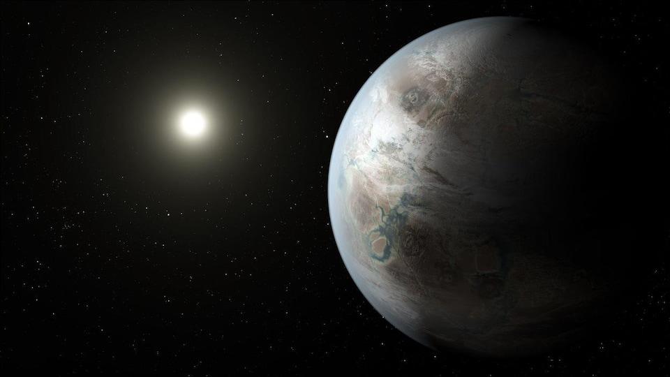 Impression artistique de l'exoplanète Kepler-452b.