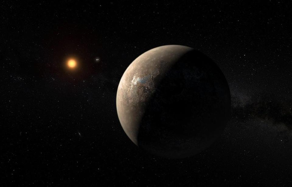 Représentation artistique de l'exoplanète Proximab en orbite autour de Proxima du Centaure.