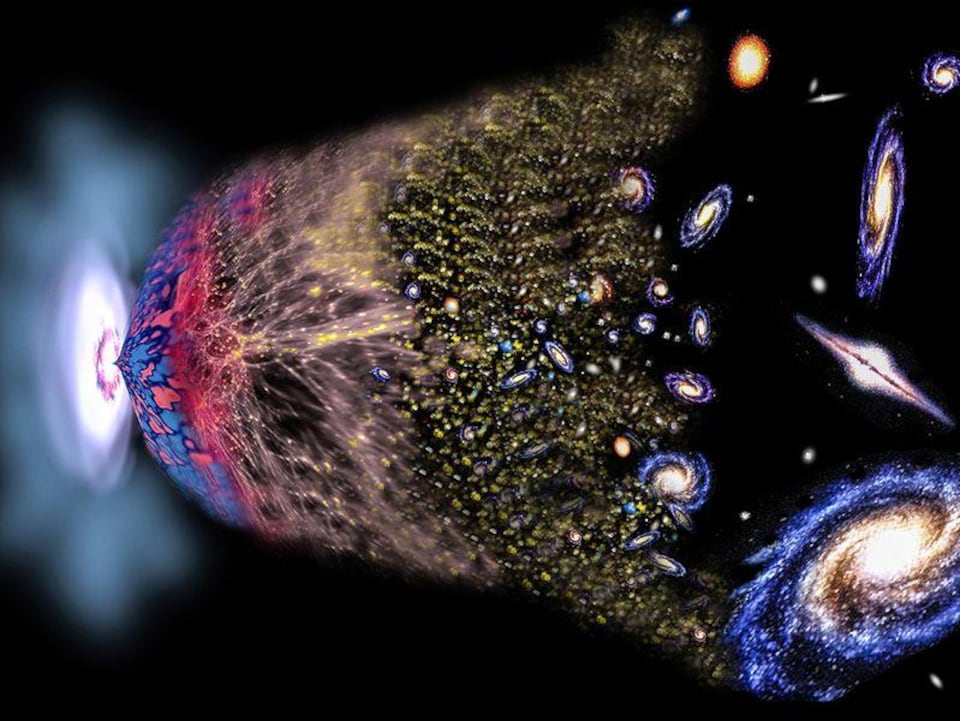 Illustration artistique du big bang, et de la théorie de l'expansion de l'Univers.