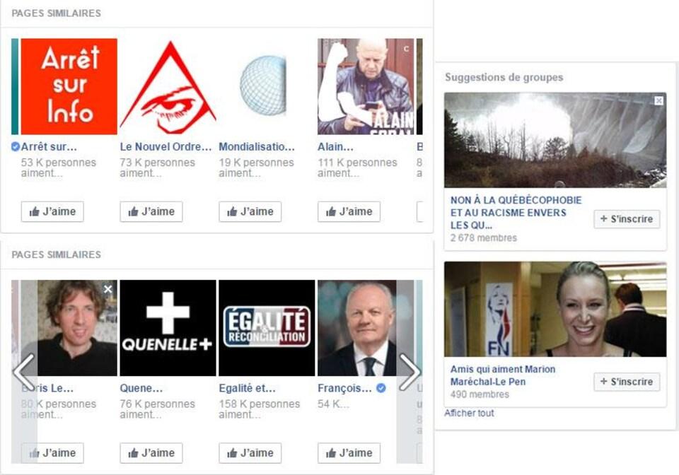 Capture d'écran des suggestions de pages reçues par le compte engagé dans le cadre d'une expérience Facebook.