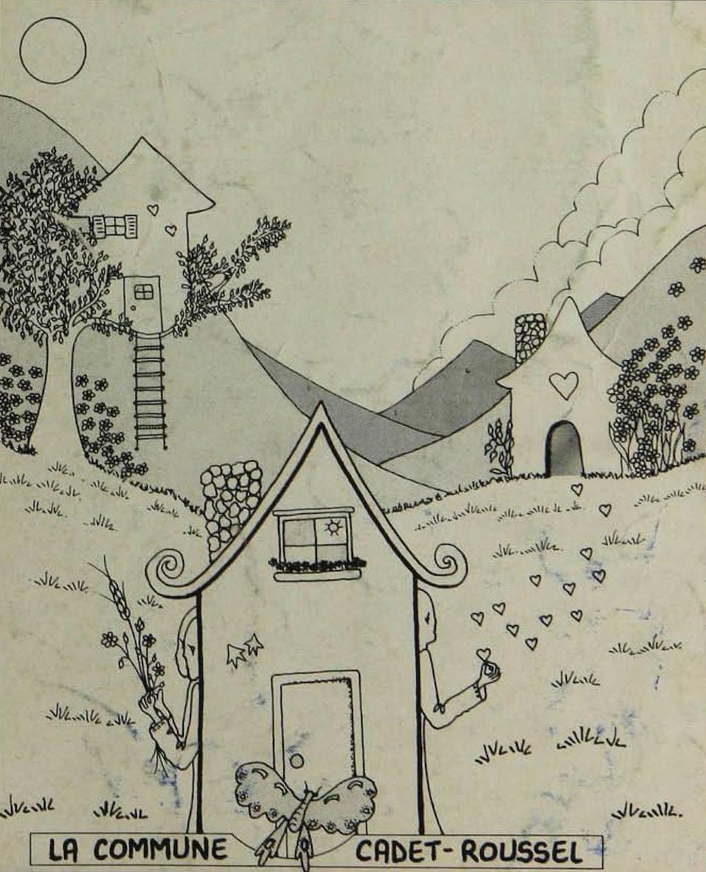 Le dessin de trois maisons à la campagne, et l'inscription : «La commune Cadet-Roussel».