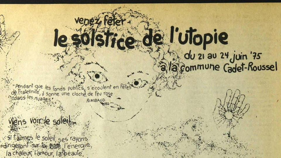 Le dessin d'un visage sur lequel on peut lire : «Venez fêter le solstice de l'utopie, du 21 au 24 juin 1975 à la commune Cadet-Roussel».