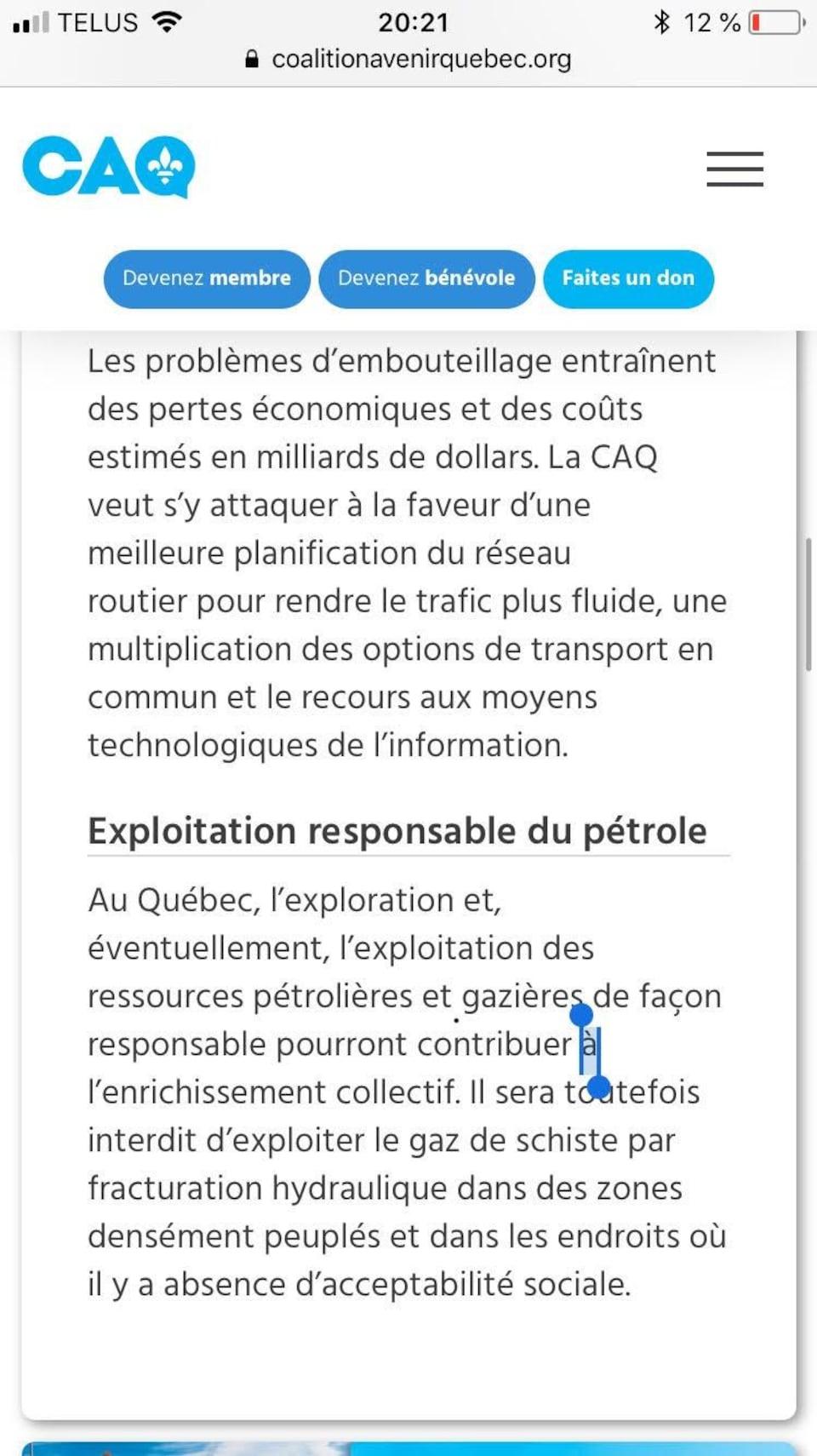 Le programme du parti faisait initialement mention de l'exploitation du pétrole et du gaz de schiste.