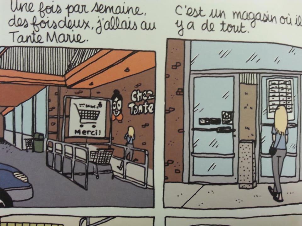 Une photo montrant un dessin présentant le magasin d'escompte Chez Tante Marie.