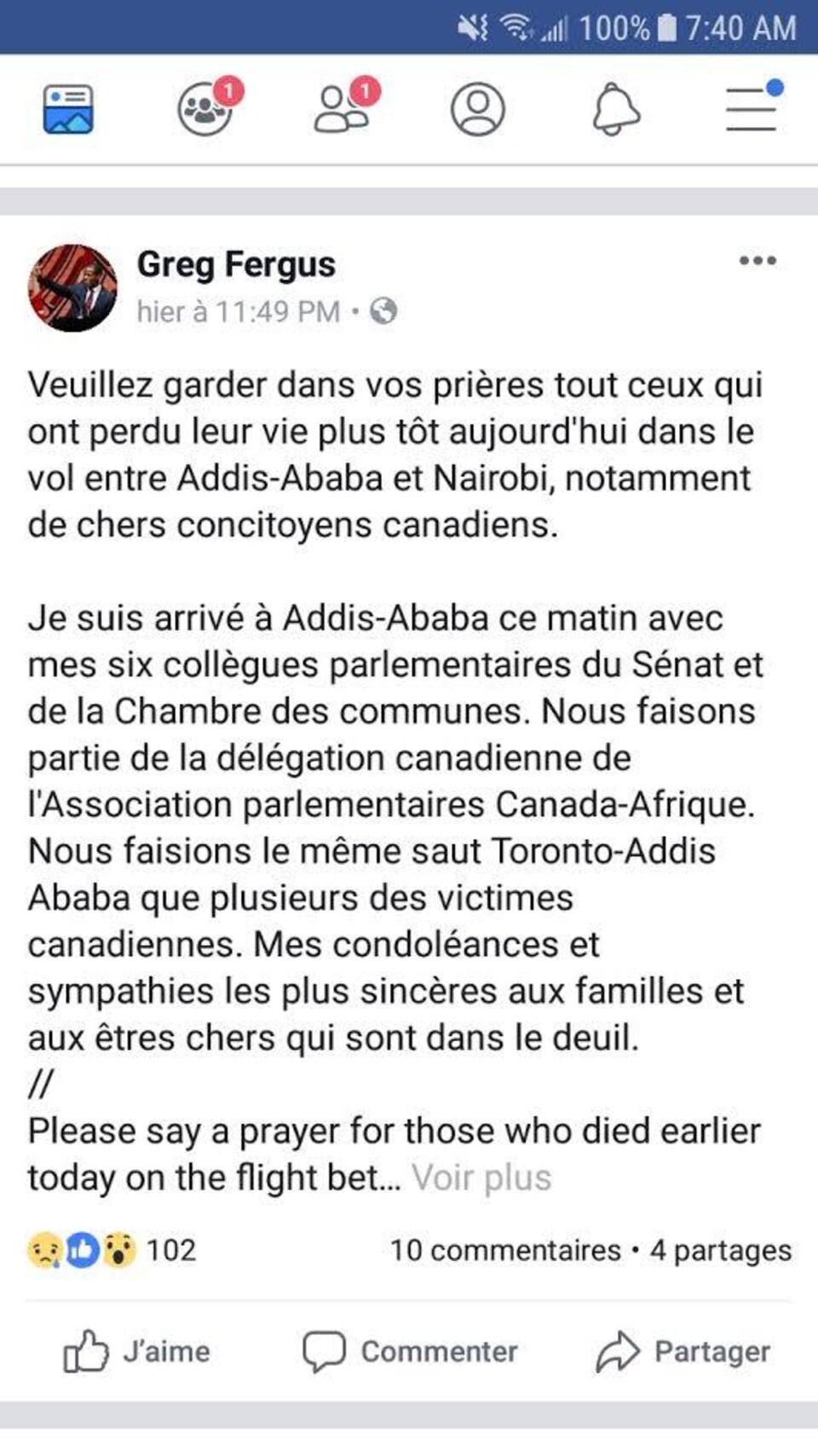 Un message Facebook invitant les lecteurs à prier pour les victimes de l'écrasement du Boeing 737 d'Ethiopian Airlines.
