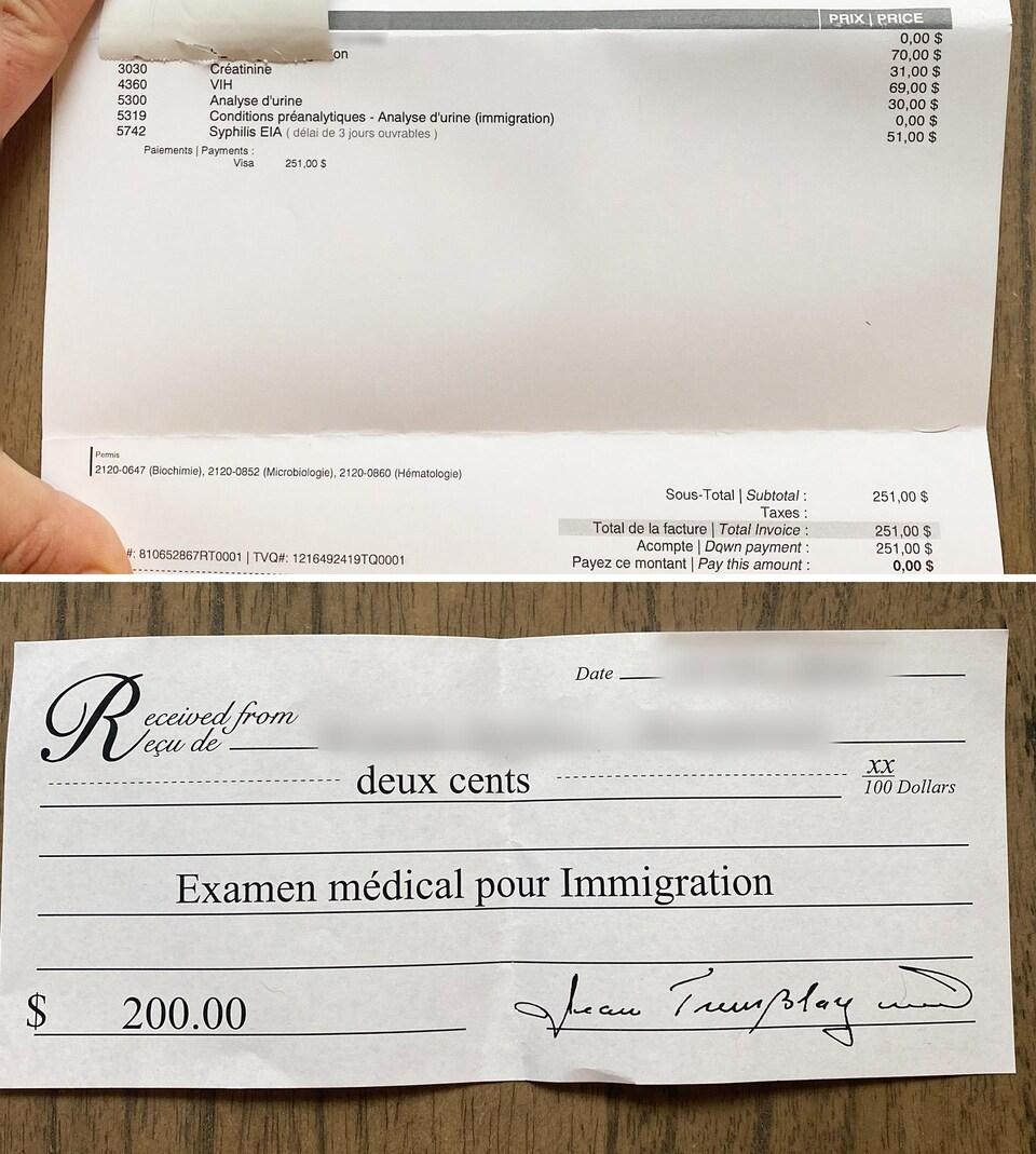 Deux factures déposées sur une table