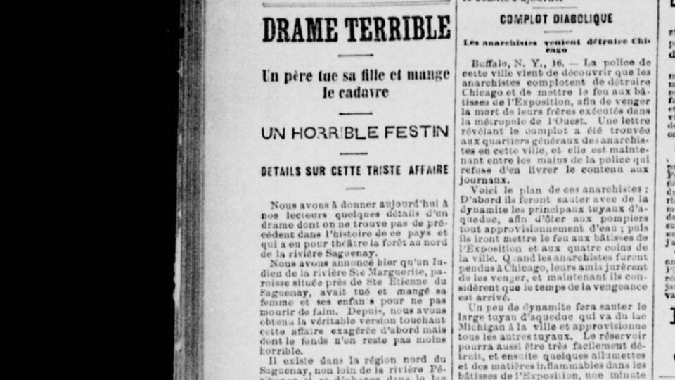 L'article est intitulé, « Drame terrible, un père tue sa fille et mange le cadavre ».