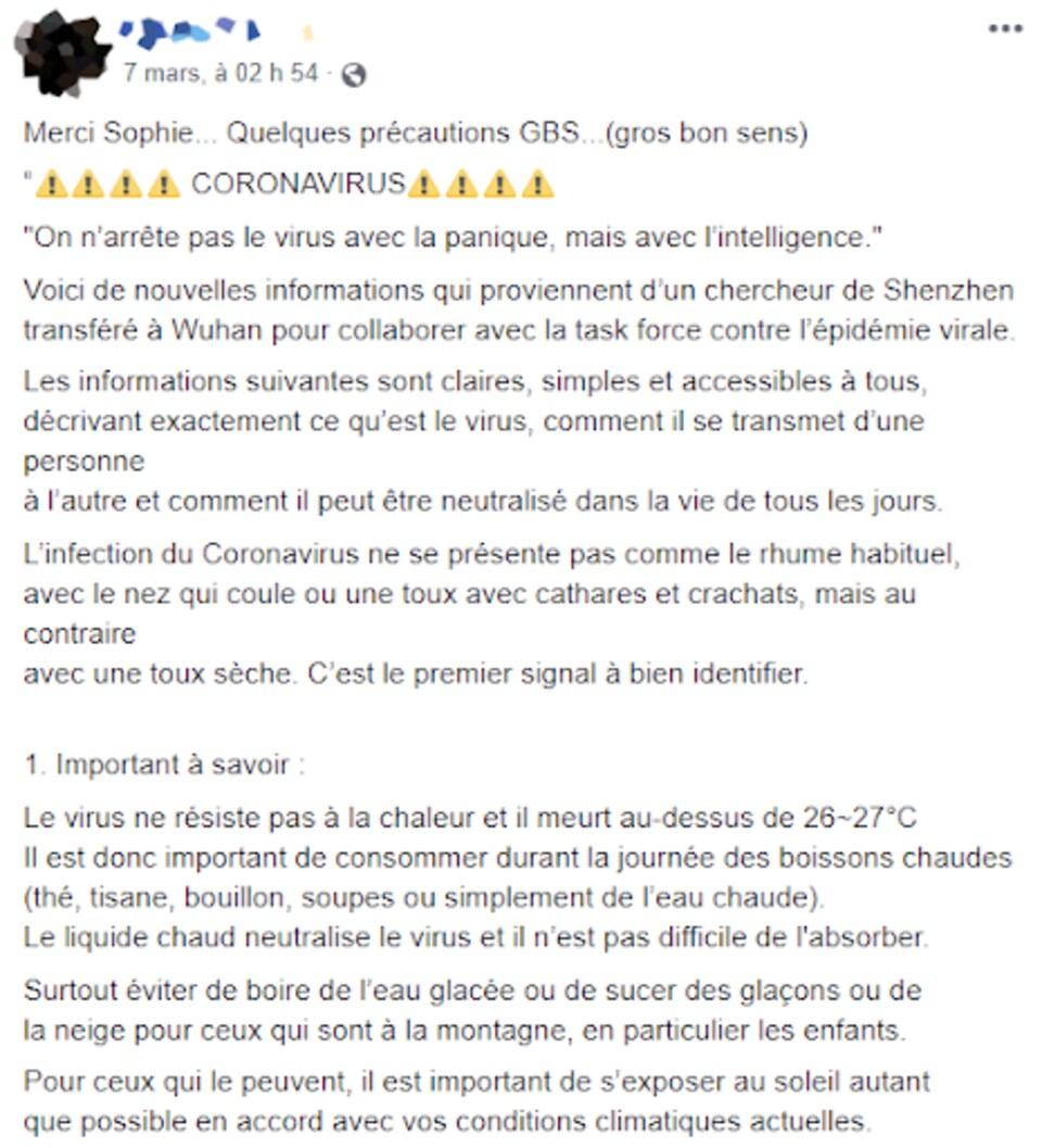 Une publication Facebook avec une liste de conseils sur le coronavirus.
