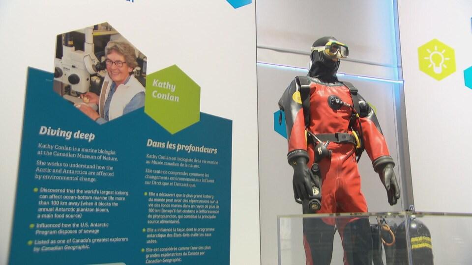 Un panneau présente les réalisations de la biologiste, à côté d'un mannequin portant masque et combinaison de plongée sous-marine.