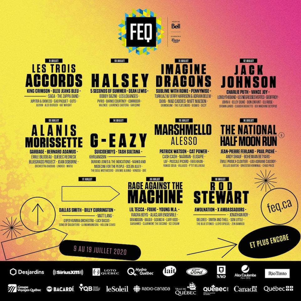 L'affiche de la programmation 2020 du Festival d'été de Québec.