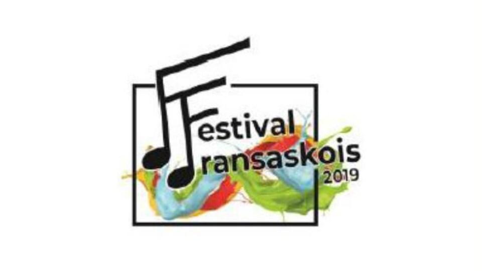 Le logo sur lequel est écrit : Festival fransaskois 2019. Les lettres F ont la forme de notes de musique.